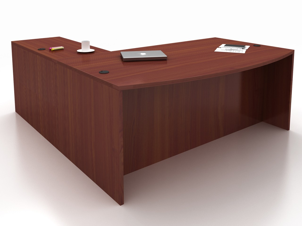 New Cherryman Amber Bow Front L Desk Eastern Office Furniture