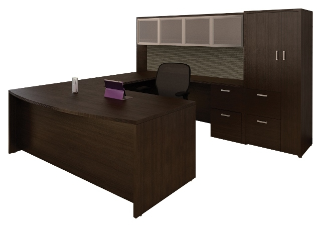 Amber U Shaped Bow Front Office Suite By Cherryman