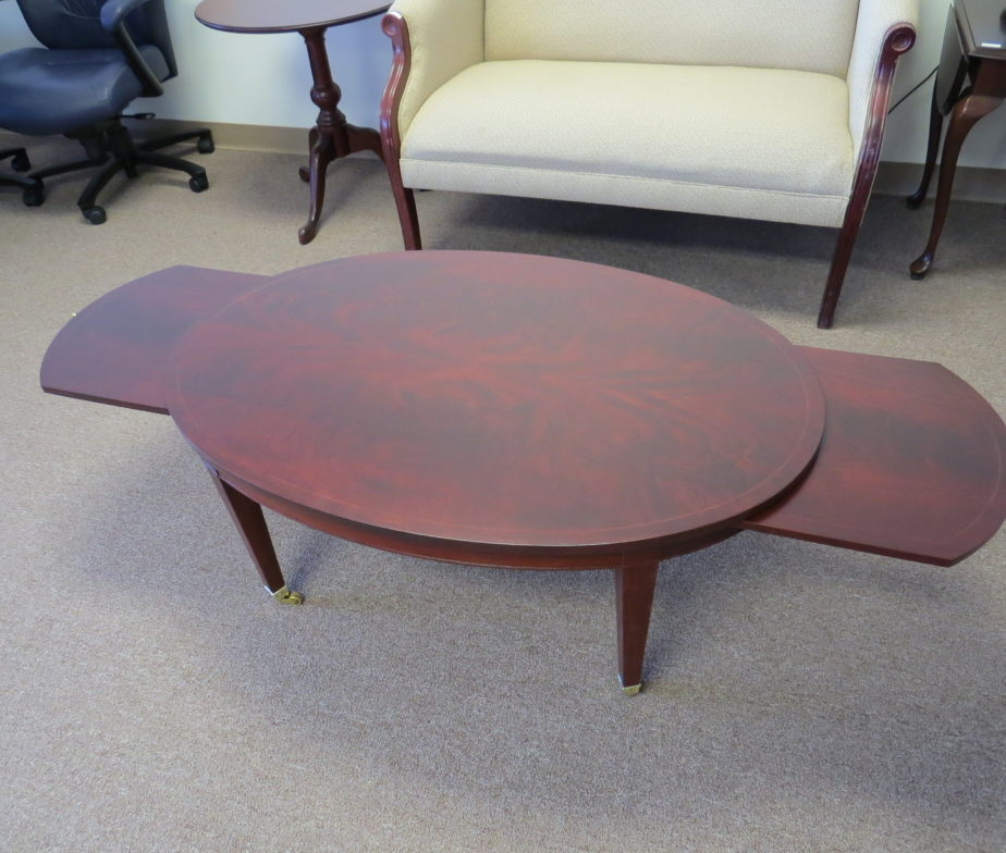 Oval Coffee Table By Baker Furniture Refinished Eastern Office Furniture